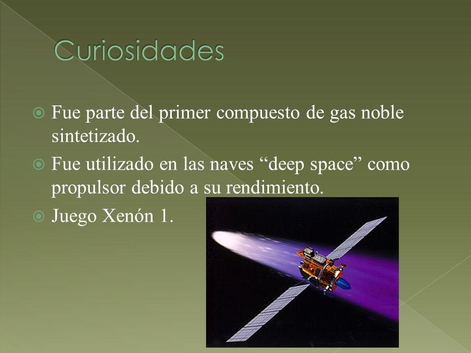 Fue parte del primer compuesto de gas noble sintetizado. Fue utilizado en las naves deep space como propulsor debido a su rendimiento. Juego Xenón 1.