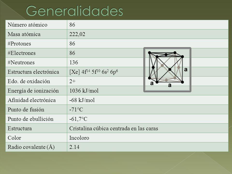Número atómico86 Masa atómica222,02 #Protones86 #Electrones86 #Neutrones136 Estructura electrónica[Xe] 4f 14 5f 10 6s 2 6p 6 Edo.