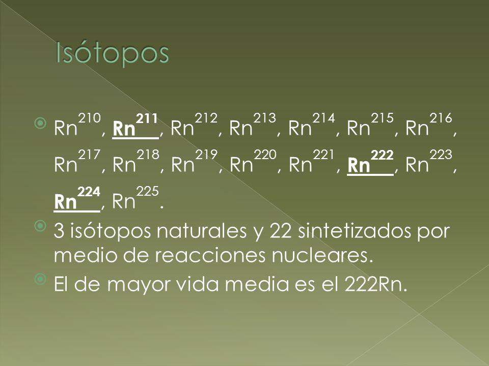 Rn 210, Rn 211, Rn 212, Rn 213, Rn 214, Rn 215, Rn 216, Rn 217, Rn 218, Rn 219, Rn 220, Rn 221, Rn 222, Rn 223, Rn 224, Rn 225. 3 isótopos naturales y