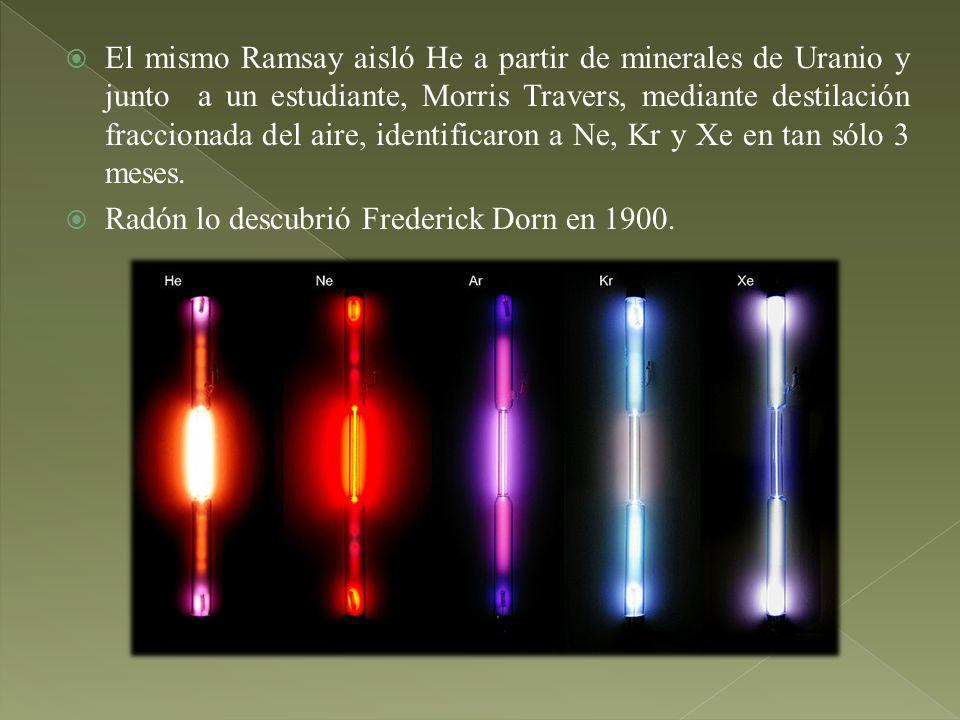 El mismo Ramsay aisló He a partir de minerales de Uranio y junto a un estudiante, Morris Travers, mediante destilación fraccionada del aire, identific