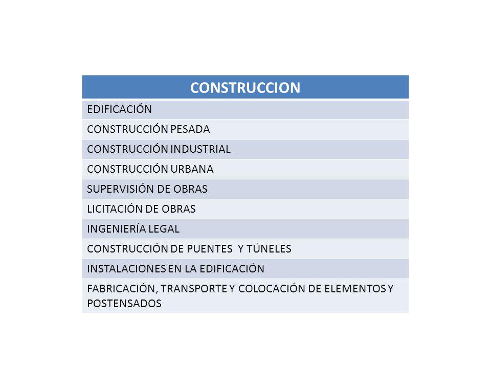 CONSTRUCCION EDIFICACIÓN CONSTRUCCIÓN PESADA CONSTRUCCIÓN INDUSTRIAL CONSTRUCCIÓN URBANA SUPERVISIÓN DE OBRAS LICITACIÓN DE OBRAS INGENIERÍA LEGAL CONSTRUCCIÓN DE PUENTES Y TÚNELES INSTALACIONES EN LA EDIFICACIÓN FABRICACIÓN, TRANSPORTE Y COLOCACIÓN DE ELEMENTOS Y POSTENSADOS