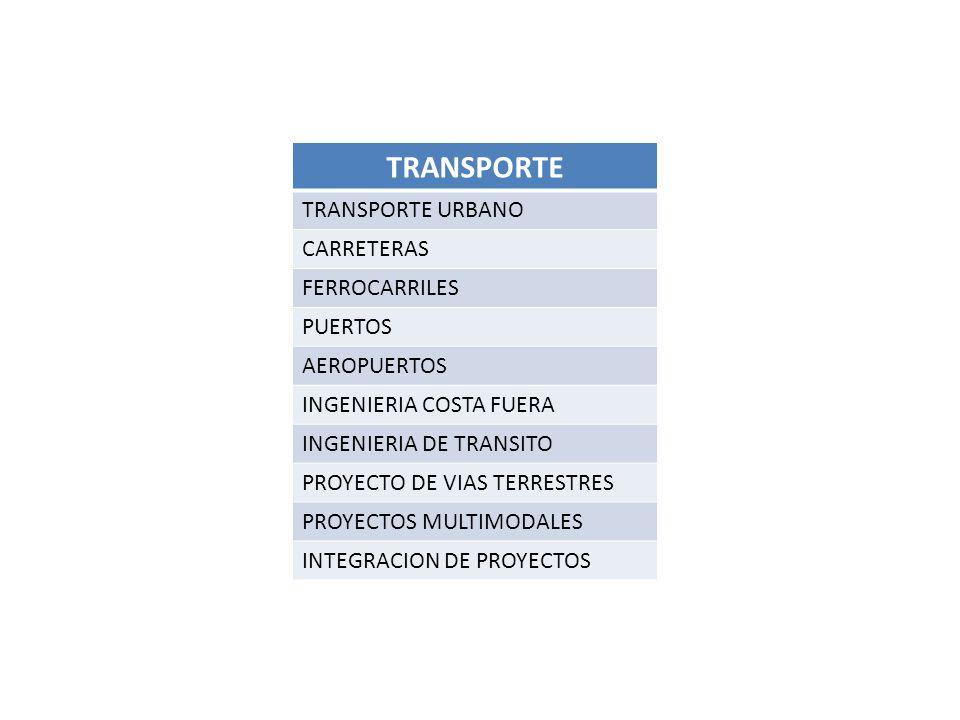 TRANSPORTE TRANSPORTE URBANO CARRETERAS FERROCARRILES PUERTOS AEROPUERTOS INGENIERIA COSTA FUERA INGENIERIA DE TRANSITO PROYECTO DE VIAS TERRESTRES PROYECTOS MULTIMODALES INTEGRACION DE PROYECTOS