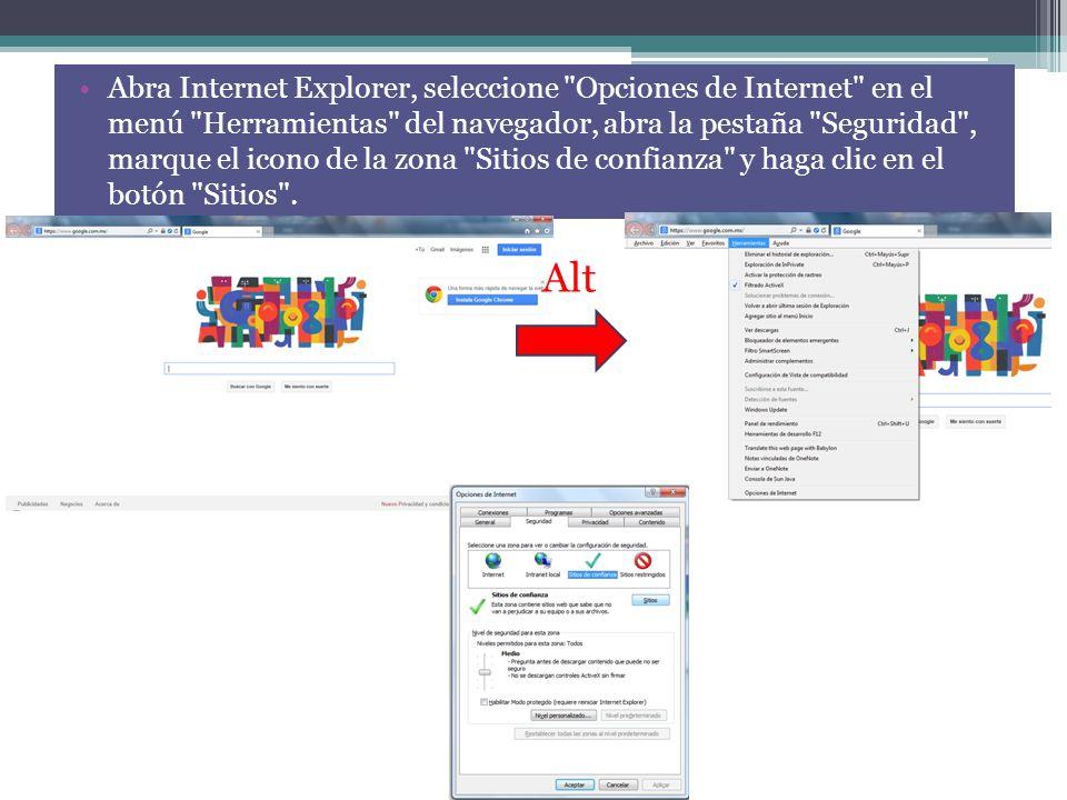 Abra Internet Explorer, seleccione