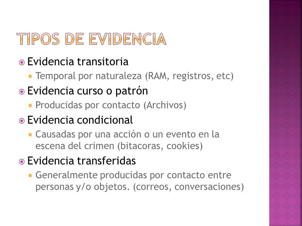 Evidencia transitoria Temporal por naturaleza (RAM, registros, etc) Evidencia curso o patrón Producidas por contacto (Archivos) Evidencia condicional Causadas por una acción o un evento en la escena del crimen (bitacoras, cookies) Evidencia transferidas Generalmente producidas por contacto entre personas y/o objetos.