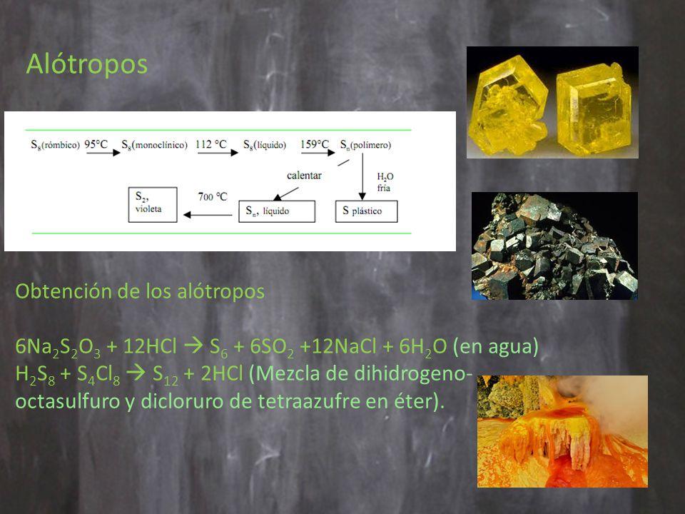 Alótropos Obtención de los alótropos 6Na 2 S 2 O 3 + 12HCl S 6 + 6SO 2 +12NaCl + 6H 2 O (en agua) H 2 S 8 + S 4 Cl 8 S 12 + 2HCl (Mezcla de dihidrogeno- octasulfuro y dicloruro de tetraazufre en éter).