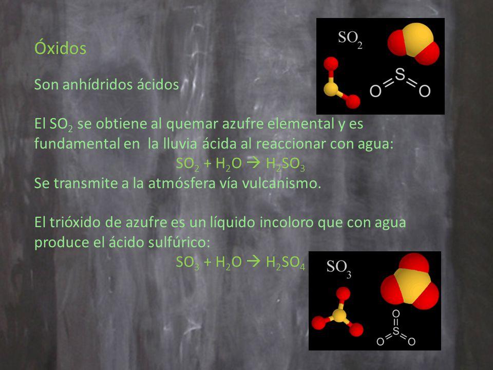 Óxidos Son anhídridos ácidos El SO 2 se obtiene al quemar azufre elemental y es fundamental en la lluvia ácida al reaccionar con agua: SO 2 + H 2 O H 2 SO 3 Se transmite a la atmósfera vía vulcanismo.