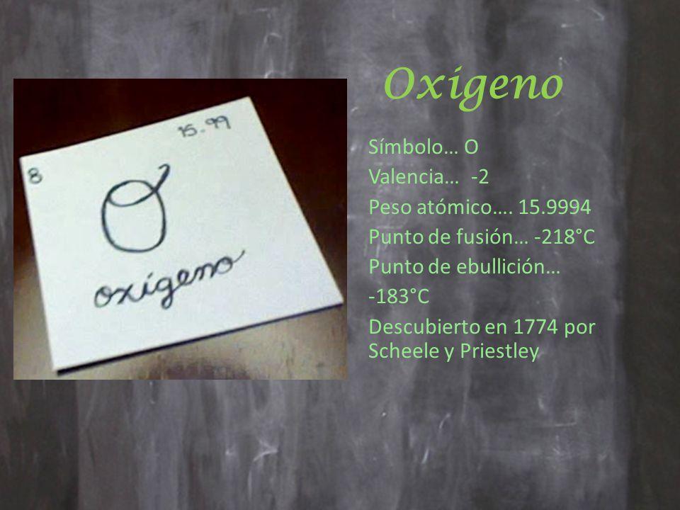 Oxigeno Símbolo… O Valencia… -2 Peso atómico….