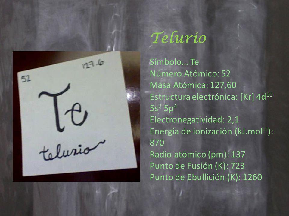 Telurio Símbolo… Te Número Atómico: 52 Masa Atómica: 127,60 Estructura electrónica: [Kr] 4d 10 5s 2 5p 4 Electronegatividad: 2,1 Energía de ionización (kJ.mol -1 ): 870 Radio atómico (pm): 137 Punto de Fusión (K): 723 Punto de Ebullición (K): 1260