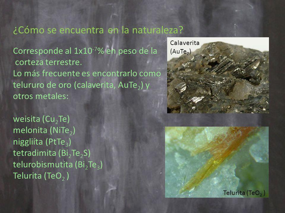 ¿Cómo se encuentra en la naturaleza.Corresponde al 1x10 -7 % en peso de la corteza terrestre.