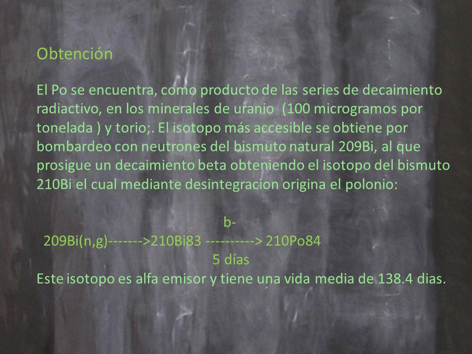 Obtención El Po se encuentra, como producto de las series de decaimiento radiactivo, en los minerales de uranio (100 microgramos por tonelada ) y torio;.