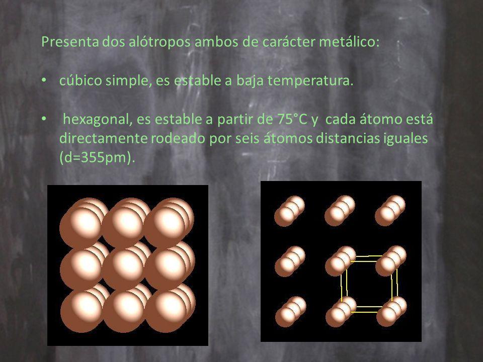 Presenta dos alótropos ambos de carácter metálico: cúbico simple, es estable a baja temperatura.