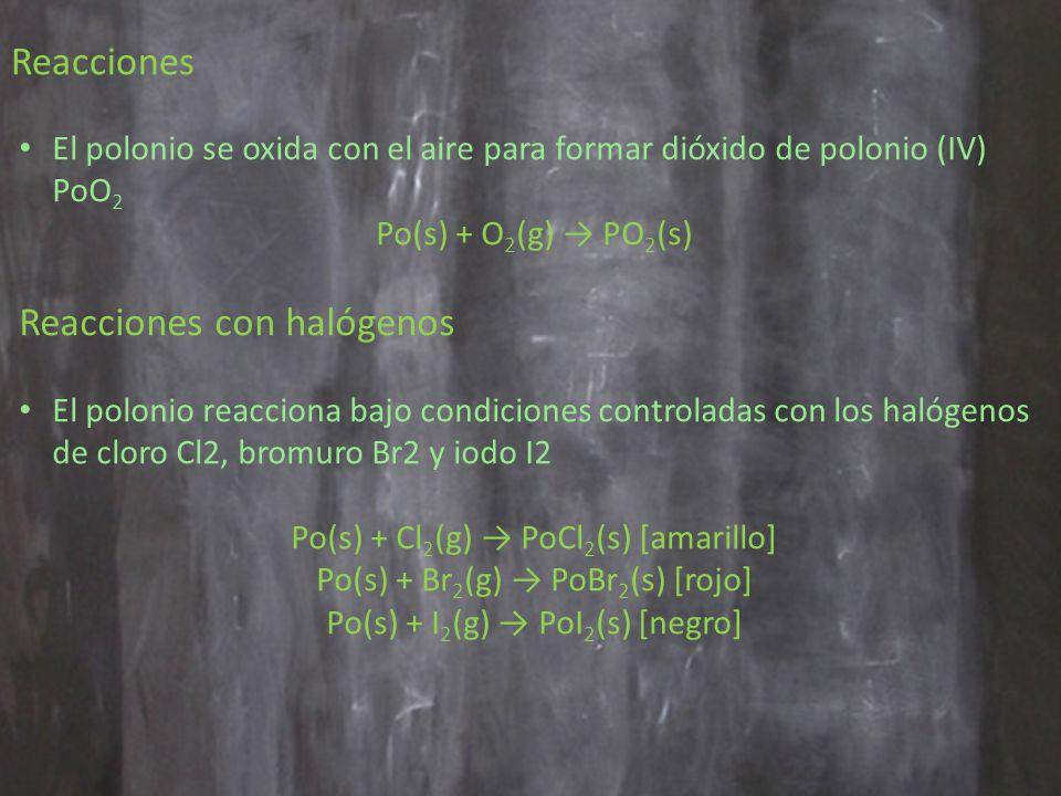 El polonio se oxida con el aire para formar dióxido de polonio (IV) PoO 2 Po(s) + O 2 (g) PO 2 (s) Reacciones con halógenos El polonio reacciona bajo condiciones controladas con los halógenos de cloro Cl2, bromuro Br2 y iodo I2 Po(s) + Cl 2 (g) PoCl 2 (s) [amarillo] Po(s) + Br 2 (g) PoBr 2 (s) [rojo] Po(s) + I 2 (g) PoI 2 (s) [negro] Reacciones
