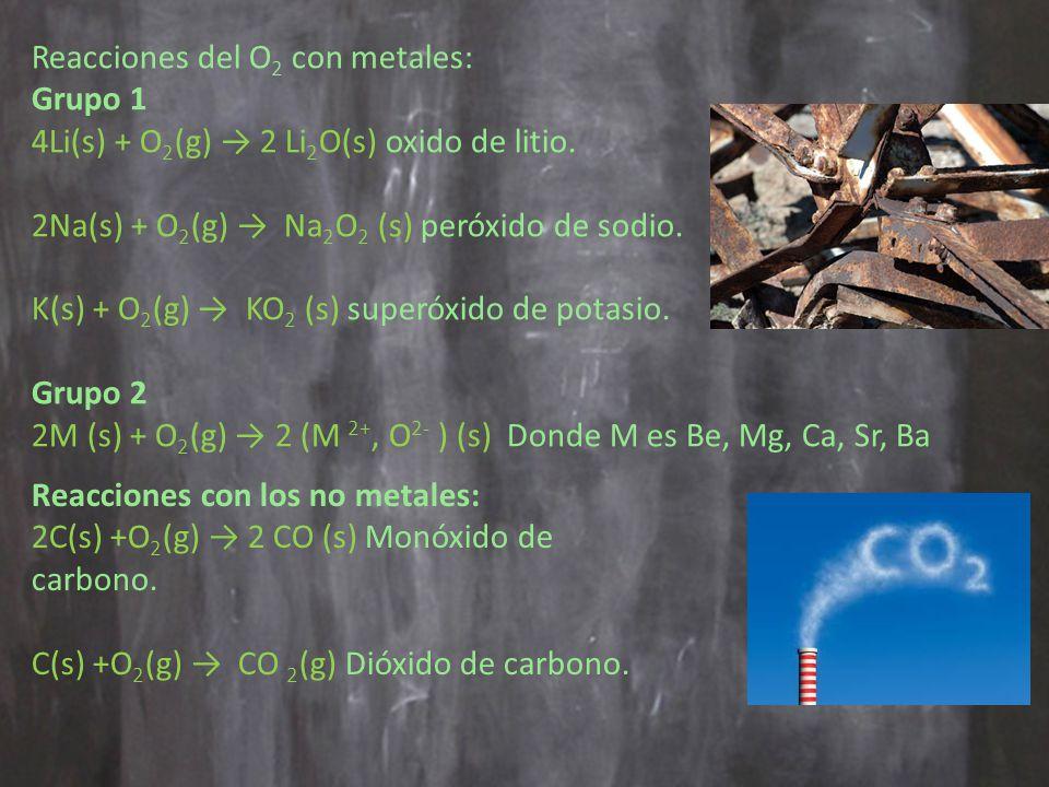 Reacciones del O 2 con metales: Grupo 1 4Li(s) + O 2 (g) 2 Li 2 O(s) oxido de litio.