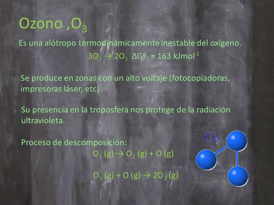 Ozono,O 3 Es una alótropo termodinámicamente inestable del oxígeno.