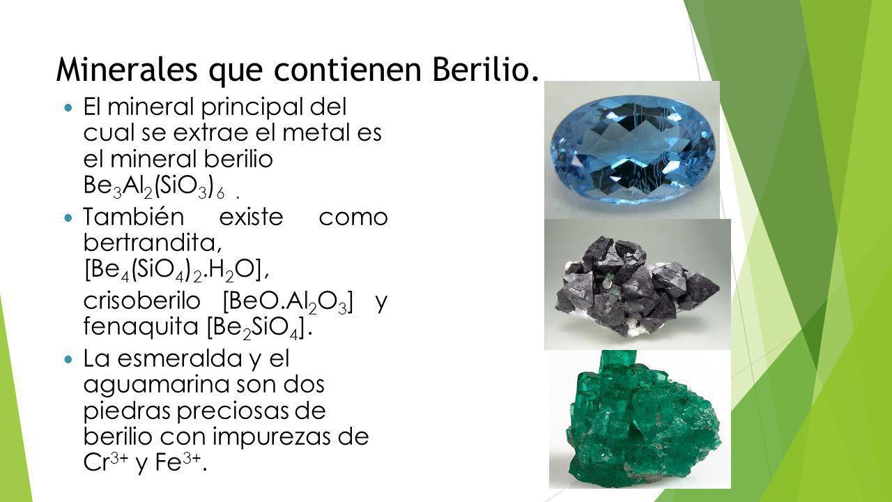 Método de extracción Se calienta el mineral berilio con hexafluorosilicato de sodio, Na 2 SiF 6 para producir BeF 2, este a su vez se reduce al elemento por medio de magnesio.