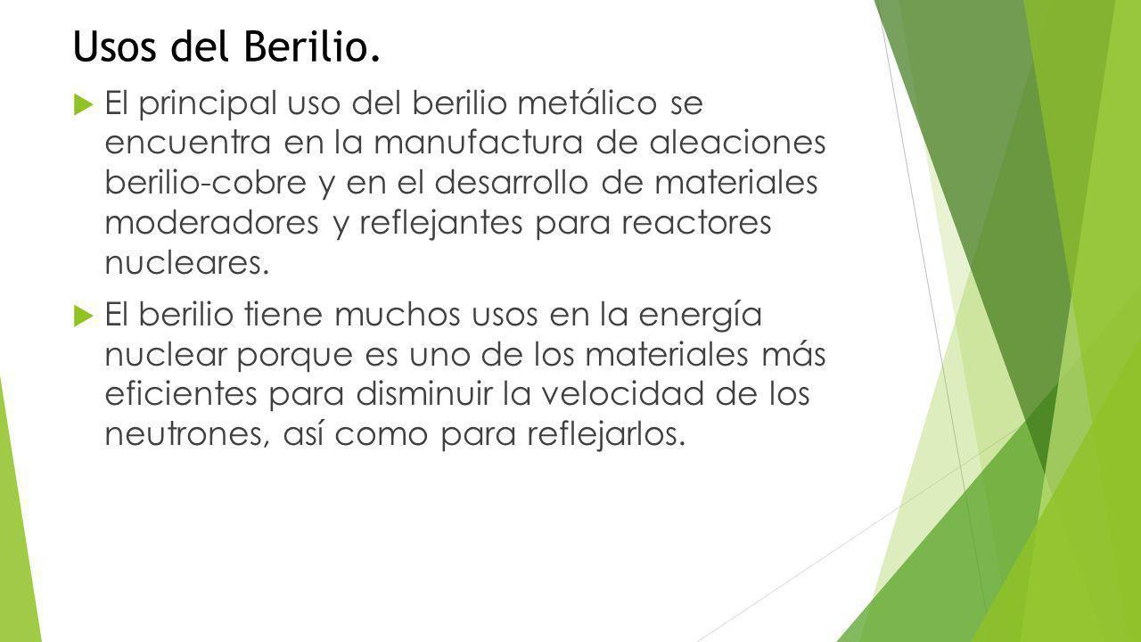 Usos del Berilio.