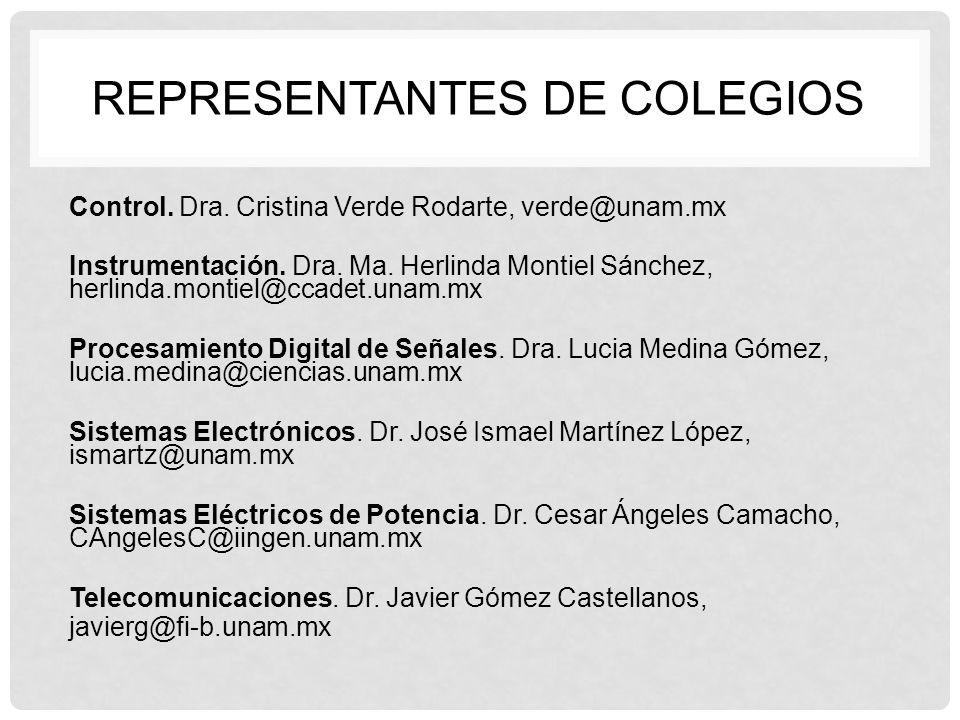 REPRESENTANTES DE COLEGIOS Control. Dra. Cristina Verde Rodarte, verde@unam.mx Instrumentación. Dra. Ma. Herlinda Montiel Sánchez, herlinda.montiel@cc
