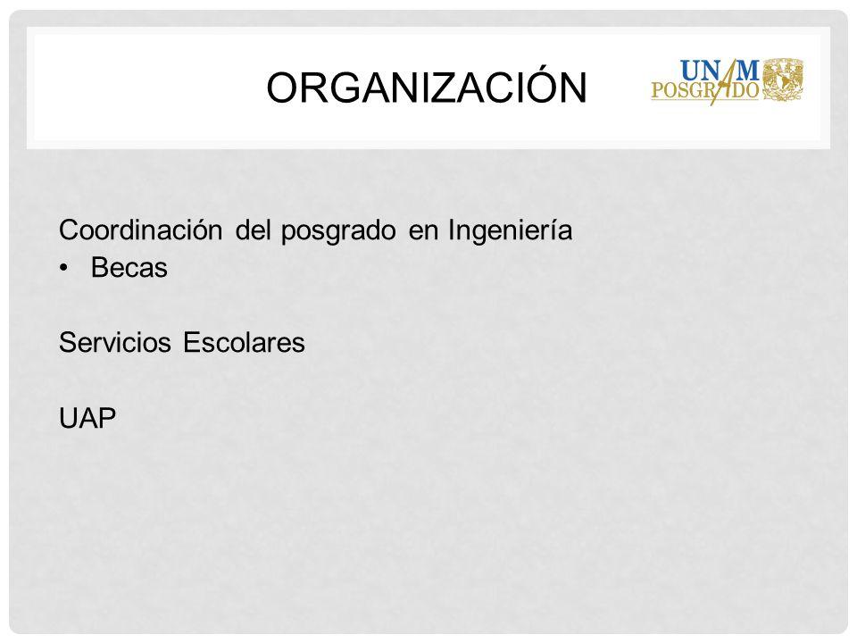 Coordinación del posgrado en Ingeniería Becas Servicios Escolares UAP ORGANIZACIÓN