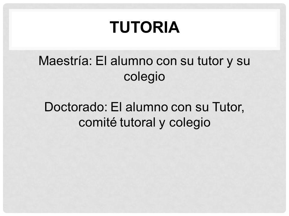 Maestría: El alumno con su tutor y su colegio Doctorado: El alumno con su Tutor, comité tutoral y colegio TUTORIA