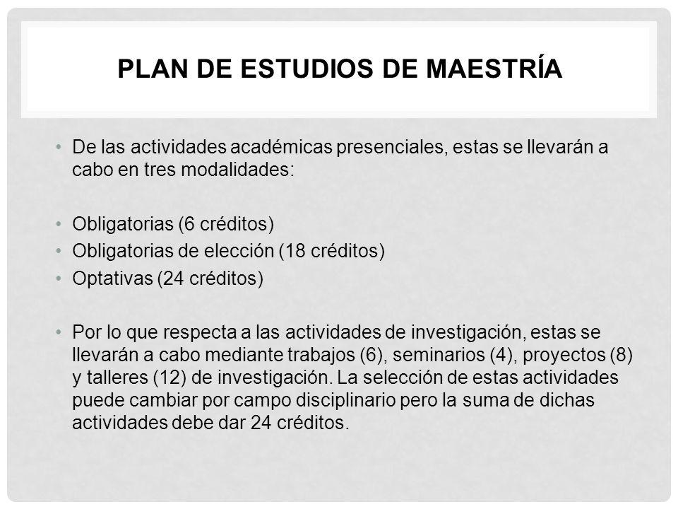 De las actividades académicas presenciales, estas se llevarán a cabo en tres modalidades: Obligatorias (6 créditos) Obligatorias de elección (18 c