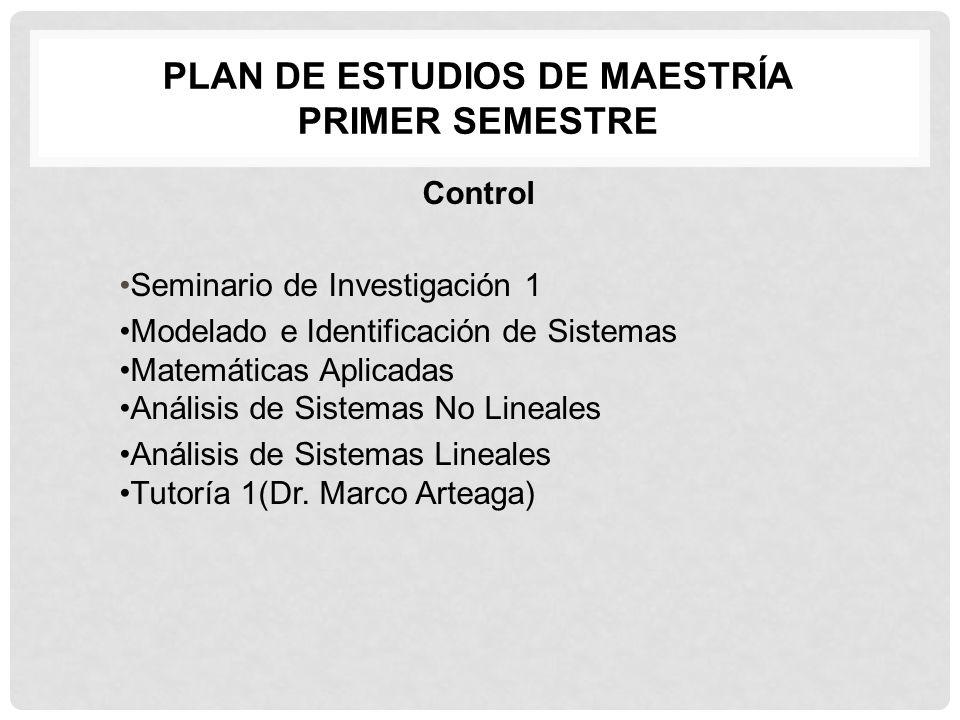 PLAN DE ESTUDIOS DE MAESTRÍA PRIMER SEMESTRE Control Seminario de Investigación 1 Modelado e Identificación de Sistemas Matemáticas Aplicadas Anál