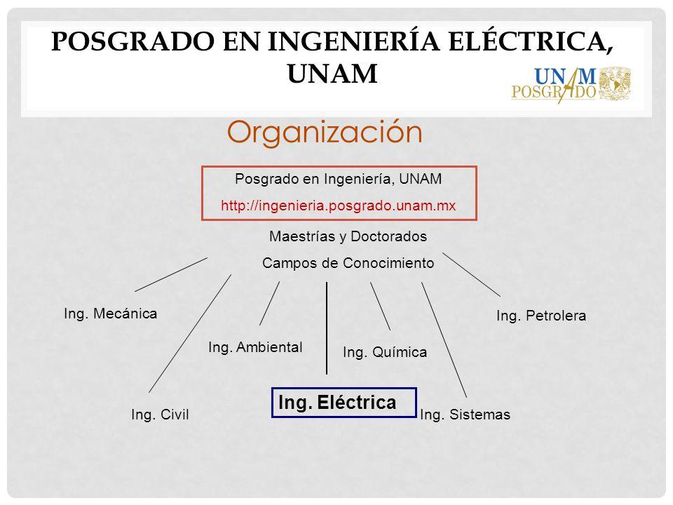 POSGRADO EN INGENIERÍA ELÉCTRICA, UNAM Organización Posgrado en Ingeniería, UNAM http://ingenieria.posgrado.unam.mx Maestrías y Doctorados Campos de C