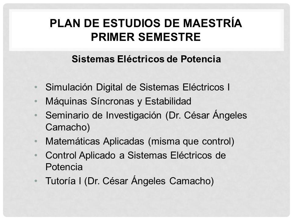 PLAN DE ESTUDIOS DE MAESTRÍA PRIMER SEMESTRE Sistemas Eléctricos de Potencia Simulación Digital de Sistemas Eléctricos I Máquinas Síncronas y Estabili