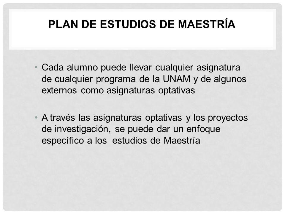 PLAN DE ESTUDIOS DE MAESTRÍA Cada alumno puede llevar cualquier asignatura de cualquier programa de la UNAM y de algunos externos como asignaturas opt