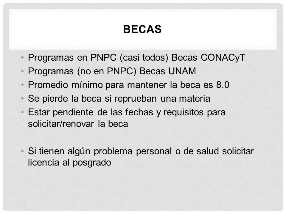 BECAS Programas en PNPC (casi todos) Becas CONACyT Programas (no en PNPC) Becas UNAM Promedio mínimo para mantener la beca es 8.0 Se pierde la beca si