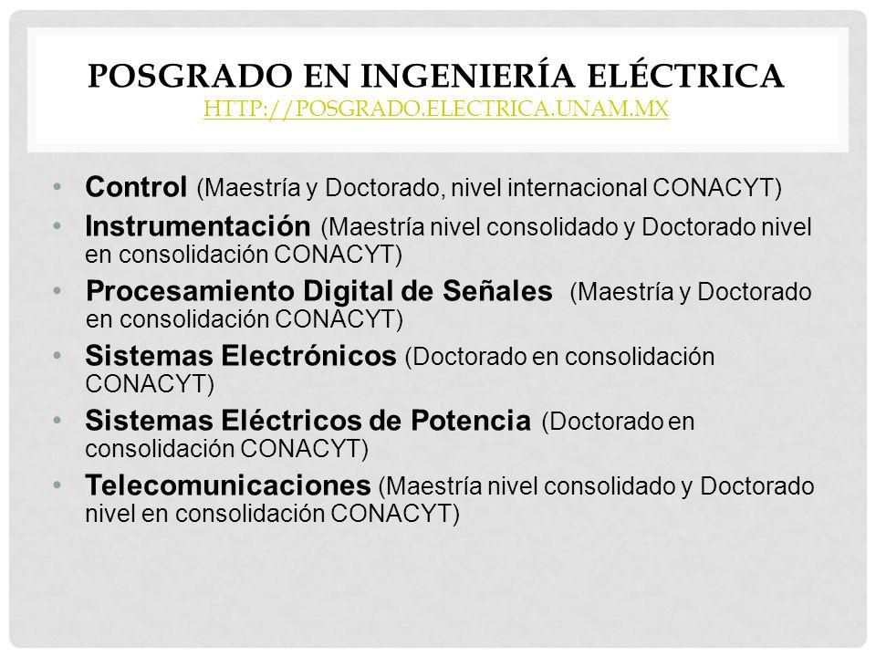 POSGRADO EN INGENIERÍA ELÉCTRICA HTTP://POSGRADO.ELECTRICA.UNAM.MX HTTP://POSGRADO.ELECTRICA.UNAM.MX Control (Maestría y Doctorado, nivel internaciona
