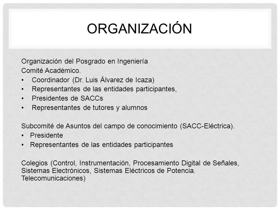 Organización del Posgrado en Ingeniería Comité Académico. Coordinador (Dr. Luis Álvarez de Icaza) Representantes de las entidades participantes, Presi
