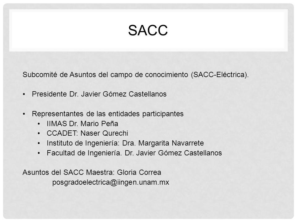 Subcomité de Asuntos del campo de conocimiento (SACC-Eléctrica). Presidente Dr. Javier Gómez Castellanos Representantes de las entidades participantes