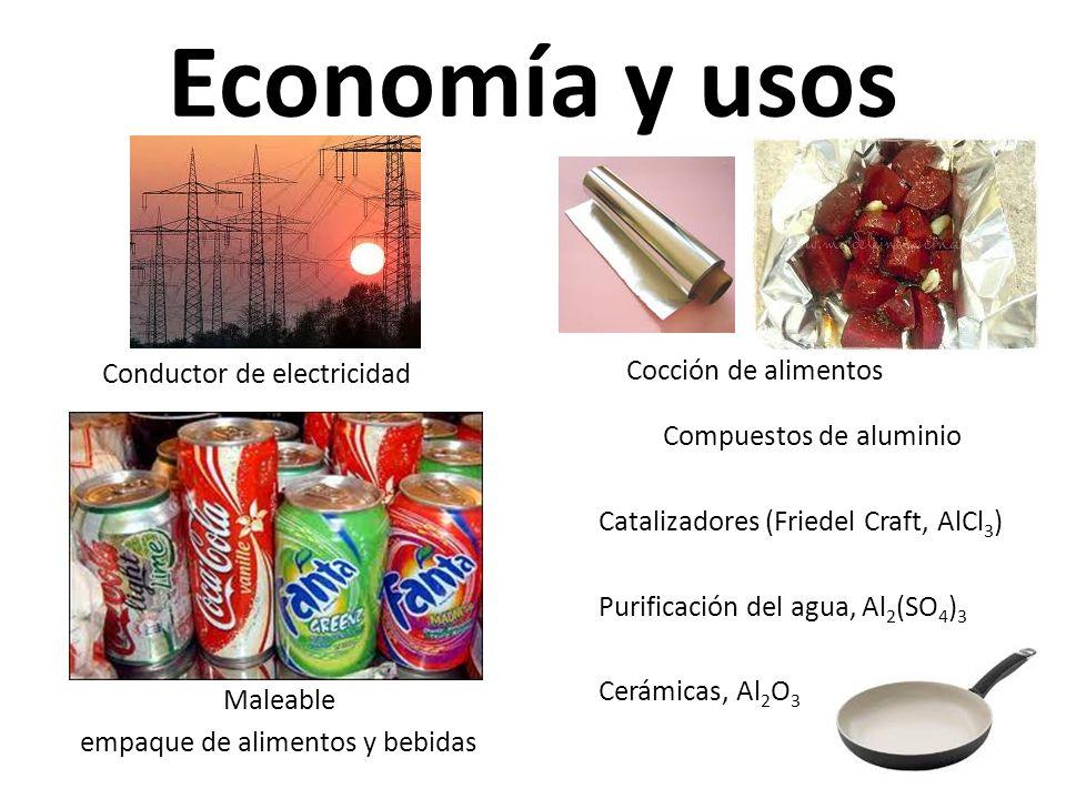 Economía y usos Conductor de electricidad Maleable empaque de alimentos y bebidas Cocción de alimentos Compuestos de aluminio Catalizadores (Friedel Craft, AlCl 3 ) Purificación del agua, Al 2 (SO 4 ) 3 Cerámicas, Al 2 O 3