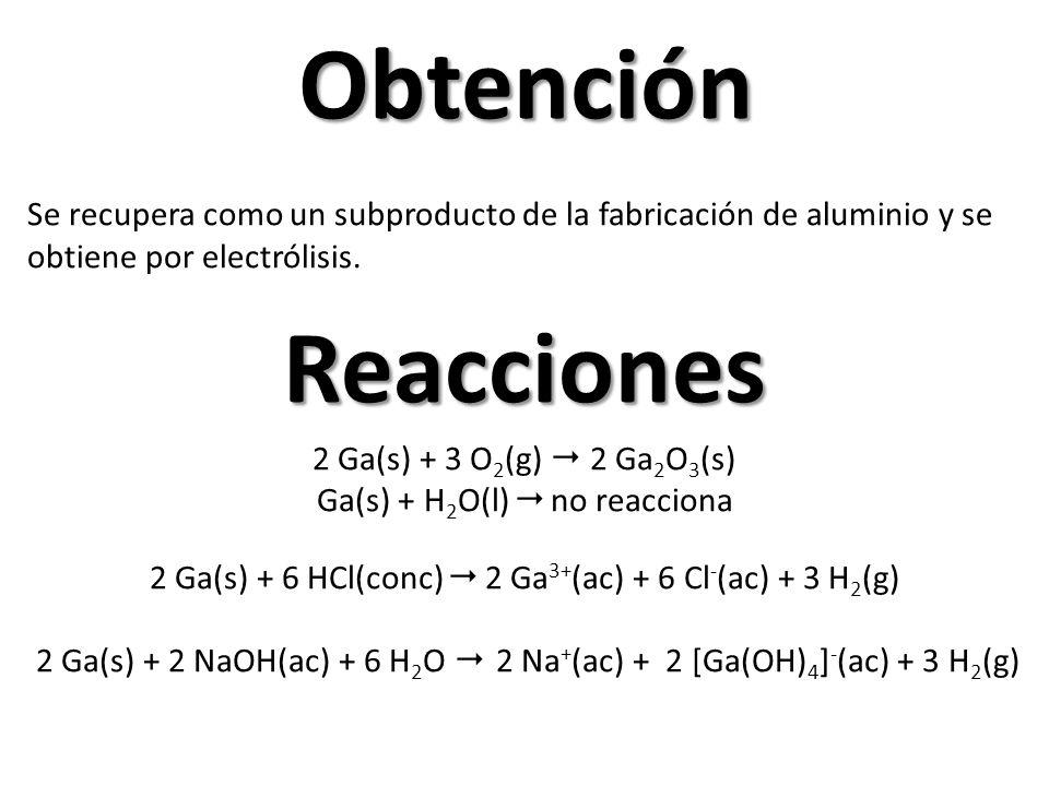 Obtención Reacciones 2 Ga(s) + 3 O 2 (g) 2 Ga 2 O 3 (s) Ga(s) + H 2 O(l) no reacciona 2 Ga(s) + 6 HCl(conc) 2 Ga 3+ (ac) + 6 Cl - (ac) + 3 H 2 (g) 2 Ga(s) + 2 NaOH(ac) + 6 H 2 O 2 Na + (ac) + 2 [Ga(OH) 4 ] - (ac) + 3 H 2 (g) Se recupera como un subproducto de la fabricación de aluminio y se obtiene por electrólisis.