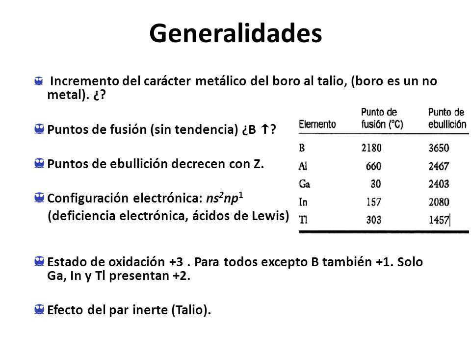 Generalidades Incremento del carácter metálico del boro al talio, (boro es un no metal).