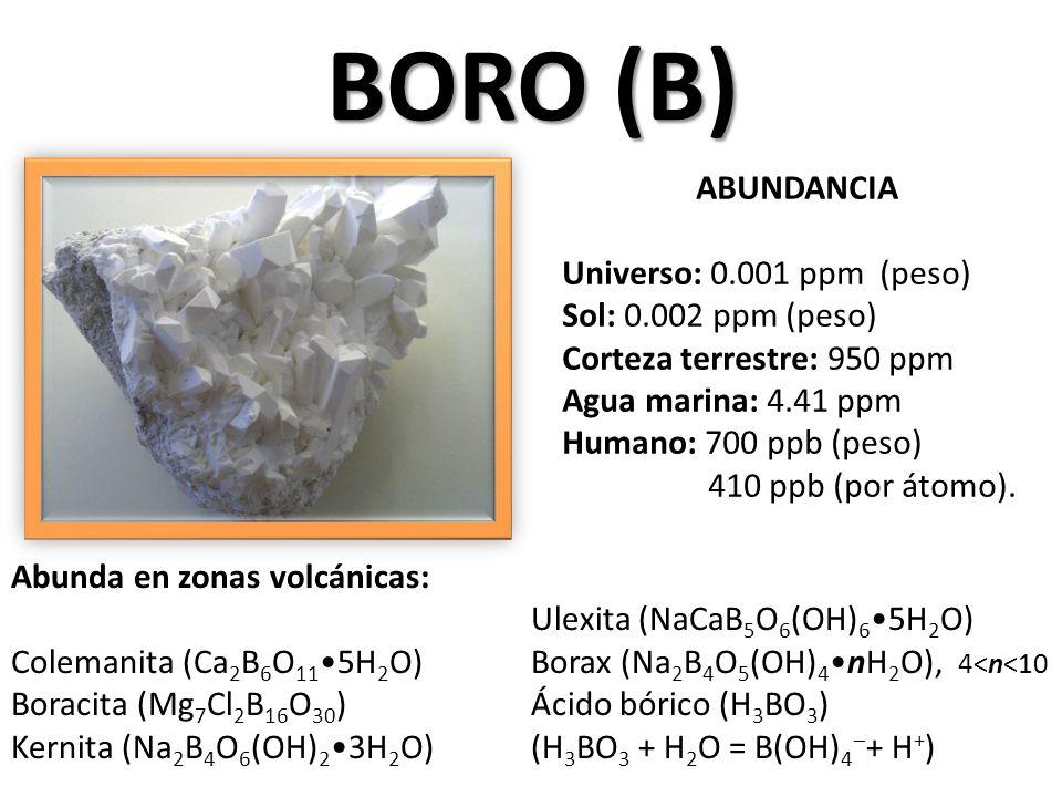 BORO (B) ABUNDANCIA Universo: 0.001 ppm (peso) Sol: 0.002 ppm (peso) Corteza terrestre: 950 ppm Agua marina: 4.41 ppm Humano: 700 ppb (peso) 410 ppb (