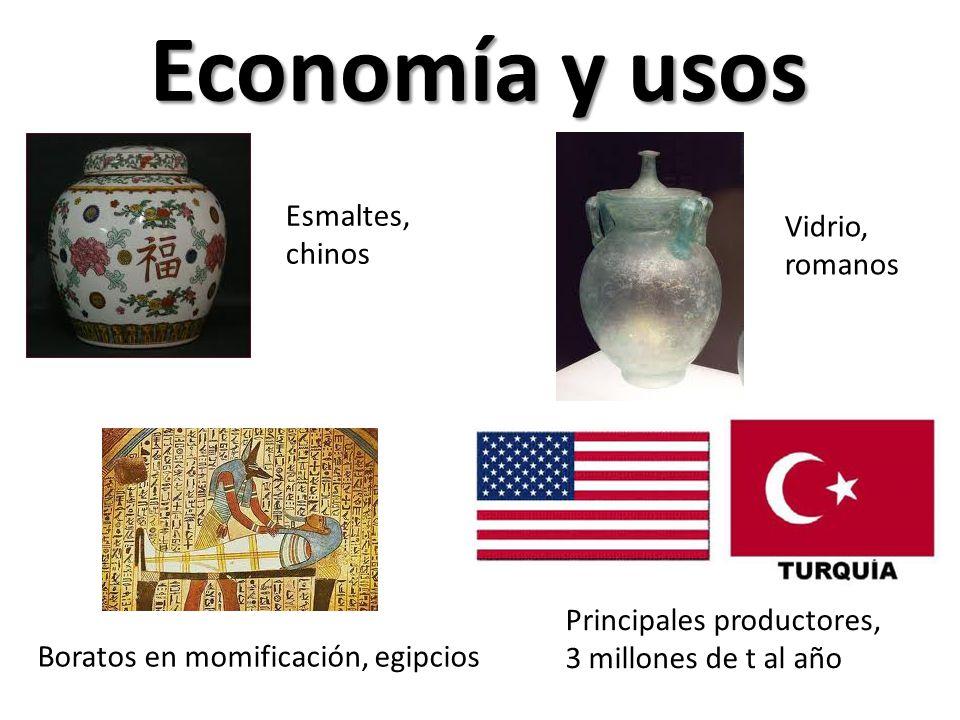 Economía y usos Esmaltes, chinos Vidrio, romanos Boratos en momificación, egipcios Principales productores, 3 millones de t al año