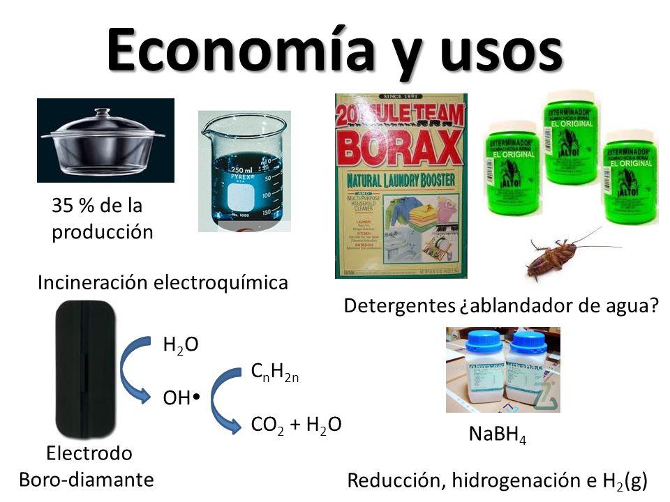 Economía y usos 35 % de la producción Detergentes ¿ablandador de agua? Electrodo Boro-diamante NaBH 4 Reducción, hidrogenación e H 2 (g) Incineración
