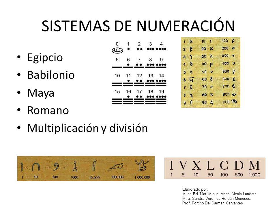 Elaborado por: M. en Ed. Mat. Miguel Ángel Alcalá Landeta Mtra. Sandra Verónica Roldán Meneses. Prof. Fortino Del Carmen Cervantes SISTEMAS DE NUMERAC