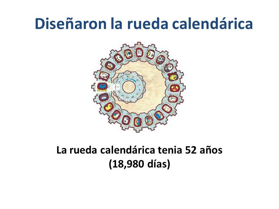 Diseñaron la rueda calendárica La rueda calendárica tenia 52 años (18,980 días)
