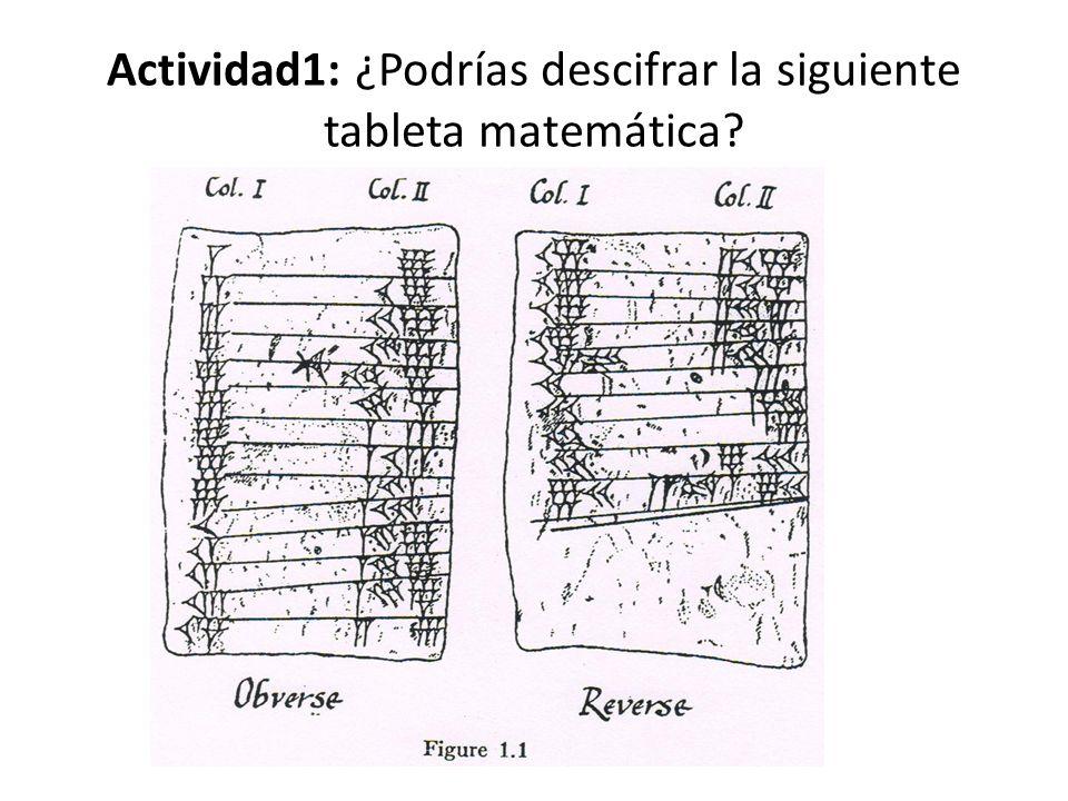 Actividad1: ¿Podrías descifrar la siguiente tableta matemática?