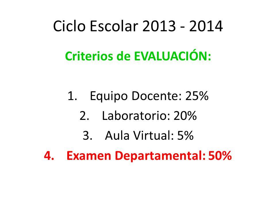 Ciclo Escolar 2013 - 2014 Criterios de EVALUACIÓN: 1.Equipo Docente: 25% 2.Laboratorio: 20% 3.Aula Virtual: 5% 4.Examen Departamental: 50%