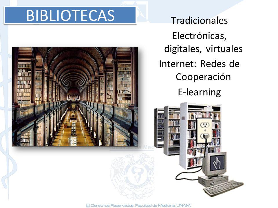 BIBLIOTECAS Tradicionales Electrónicas, digitales, virtuales Internet: Redes de Cooperación E-learning