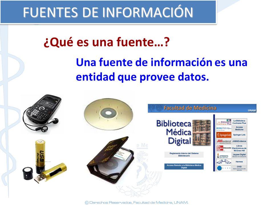 FUENTES DE INFORMACIÓN Una fuente de información es una entidad que provee datos. ¿Qué es una fuente…?