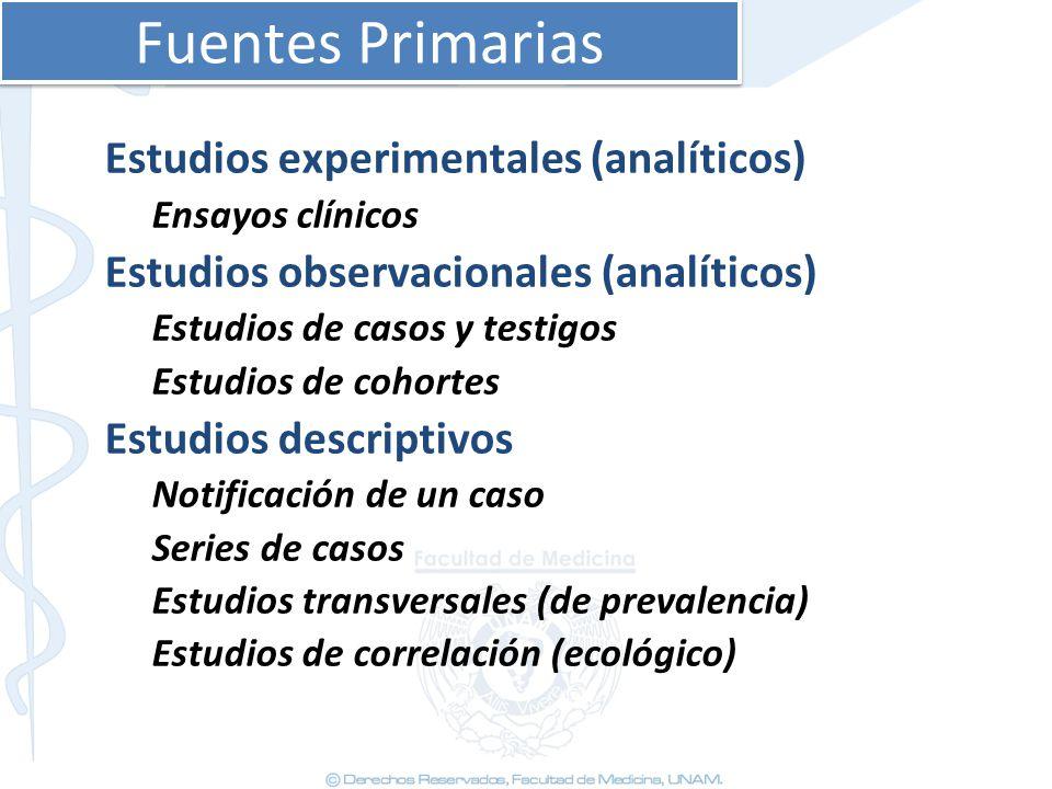 Fuentes Primarias Estudios experimentales (analíticos) Ensayos clínicos Estudios observacionales (analíticos) Estudios de casos y testigos Estudios de