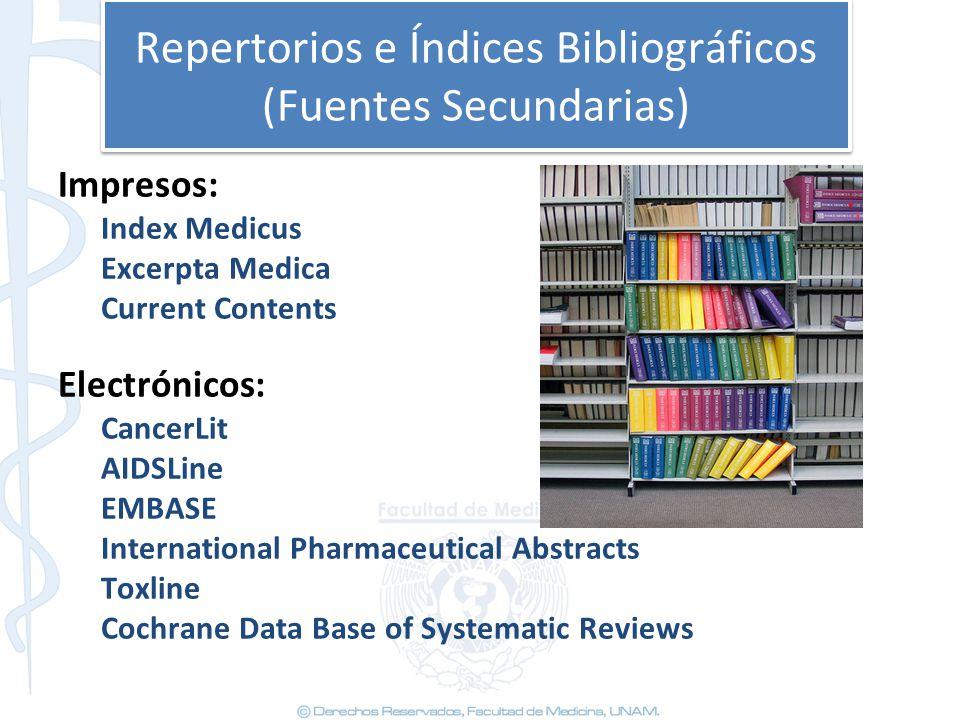 Repertorios e Índices Bibliográficos (Fuentes Secundarias) Impresos: Index Medicus Excerpta Medica Current Contents Electrónicos: CancerLit AIDSLine E