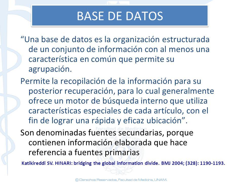 BASE DE DATOS Una base de datos es la organización estructurada de un conjunto de información con al menos una característica en común que permite su