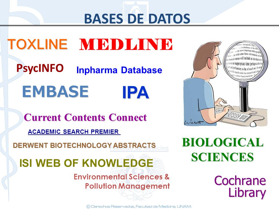 BASES DE DATOS MEDLINE IPA Environmental Sciences & Pollution Management BIOLOGICAL SCIENCES Current Contents Connect TOXLINE EMBASE Cochrane Library ACADEMIC SEARCH PREMIER ISI WEB OF KNOWLEDGE Inpharma Database DERWENT BIOTECHNOLOGY ABSTRACTS PsycINFO