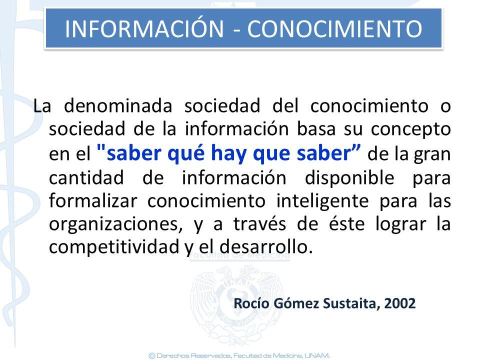 INFORMACIÓN - CONOCIMIENTO La denominada sociedad del conocimiento o sociedad de la información basa su concepto en el