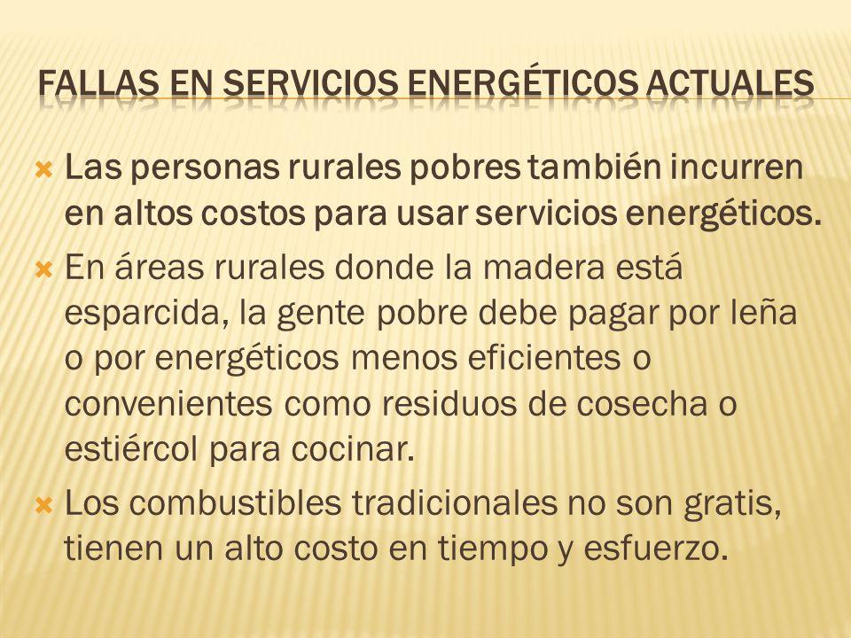 Las personas rurales pobres también incurren en altos costos para usar servicios energéticos.